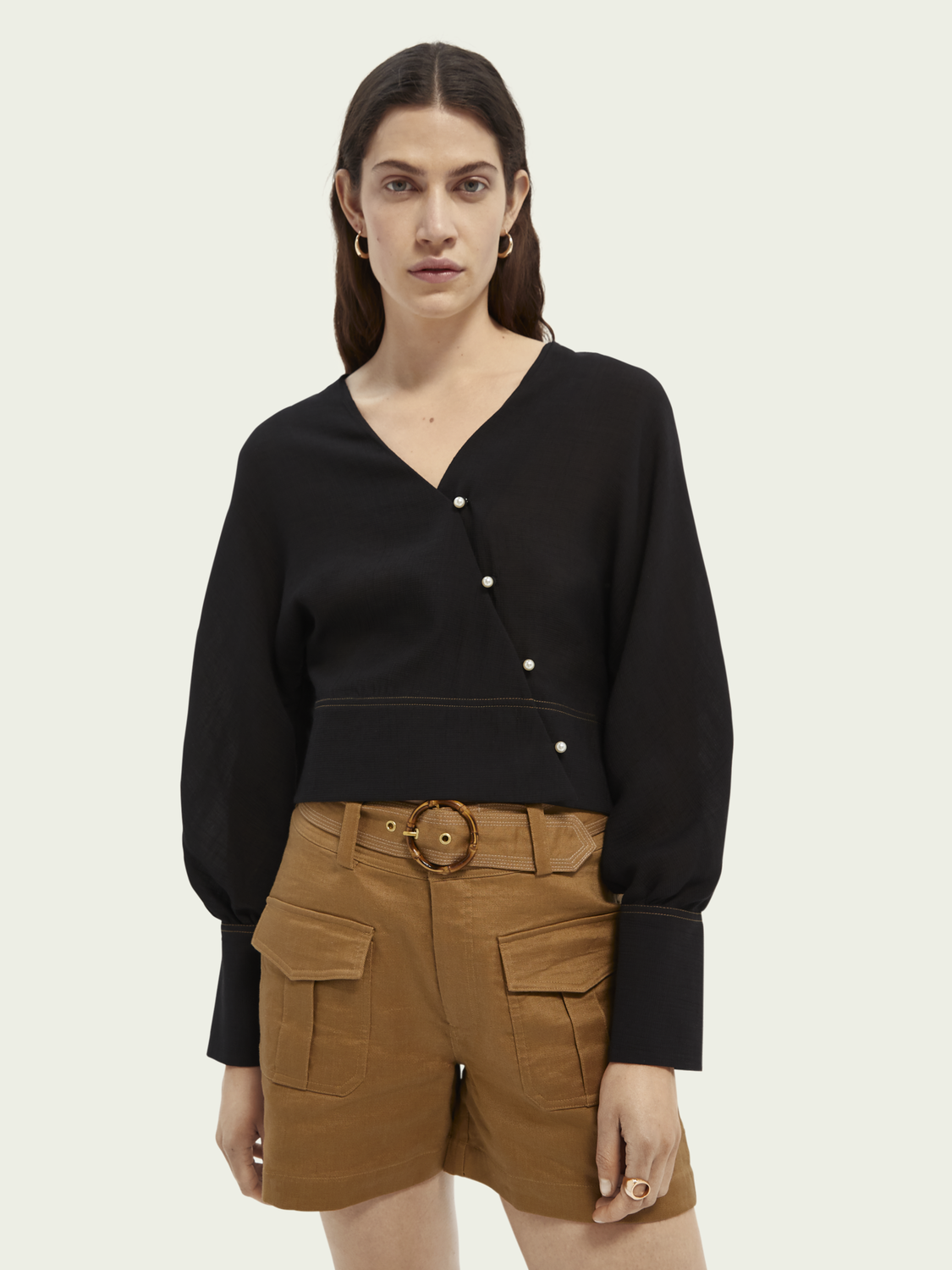 Women Wrapped pearl button top