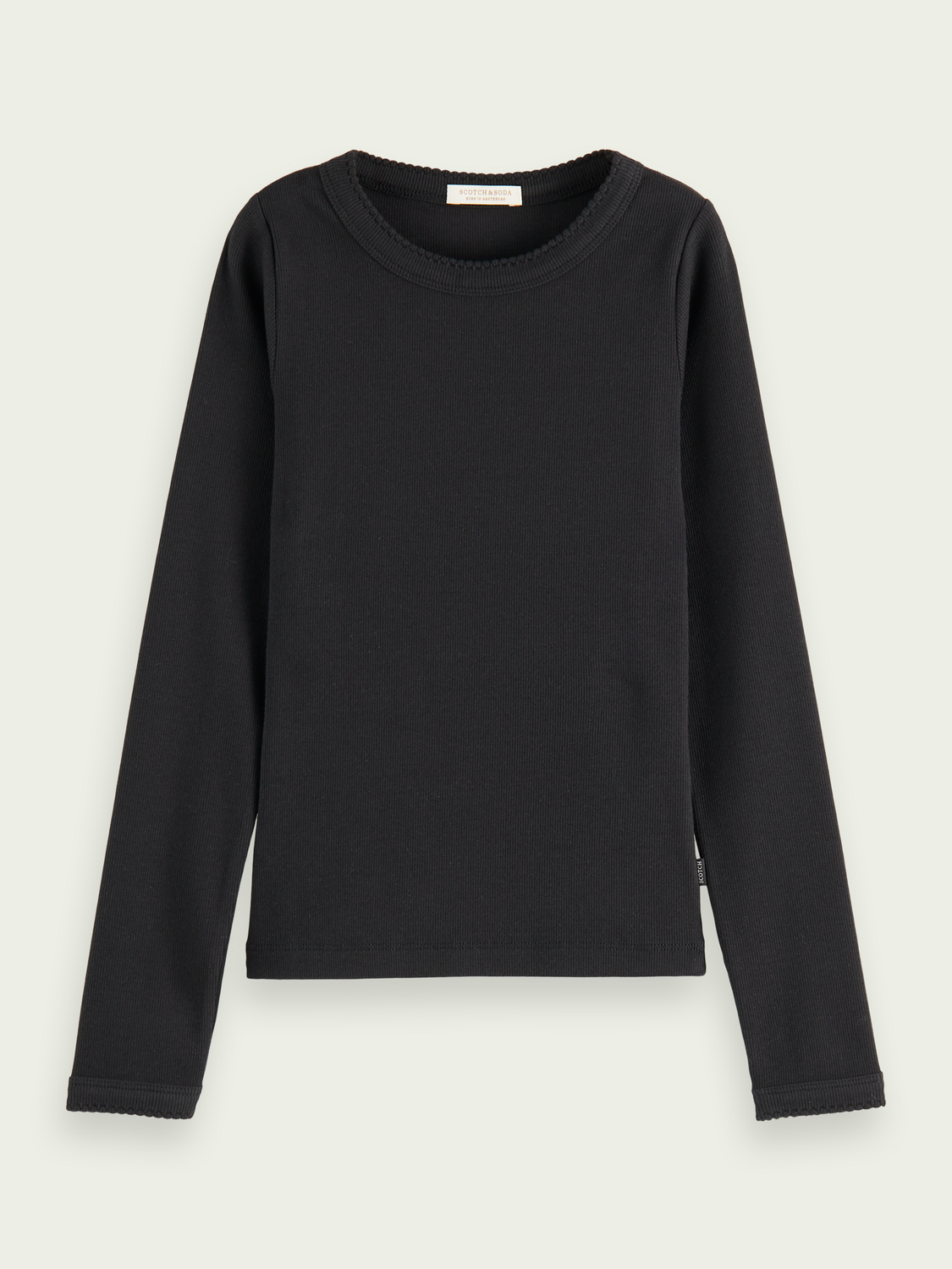Kids Long-sleeved fitted rib T-shirt