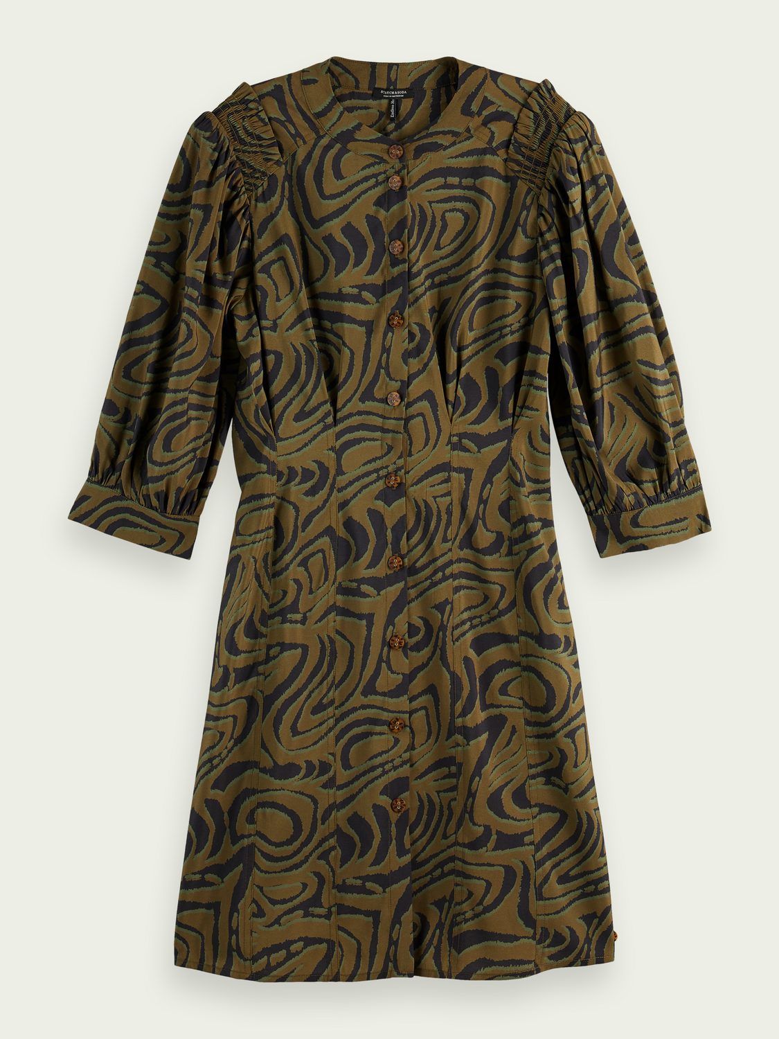Women Printed fitted button-through dress