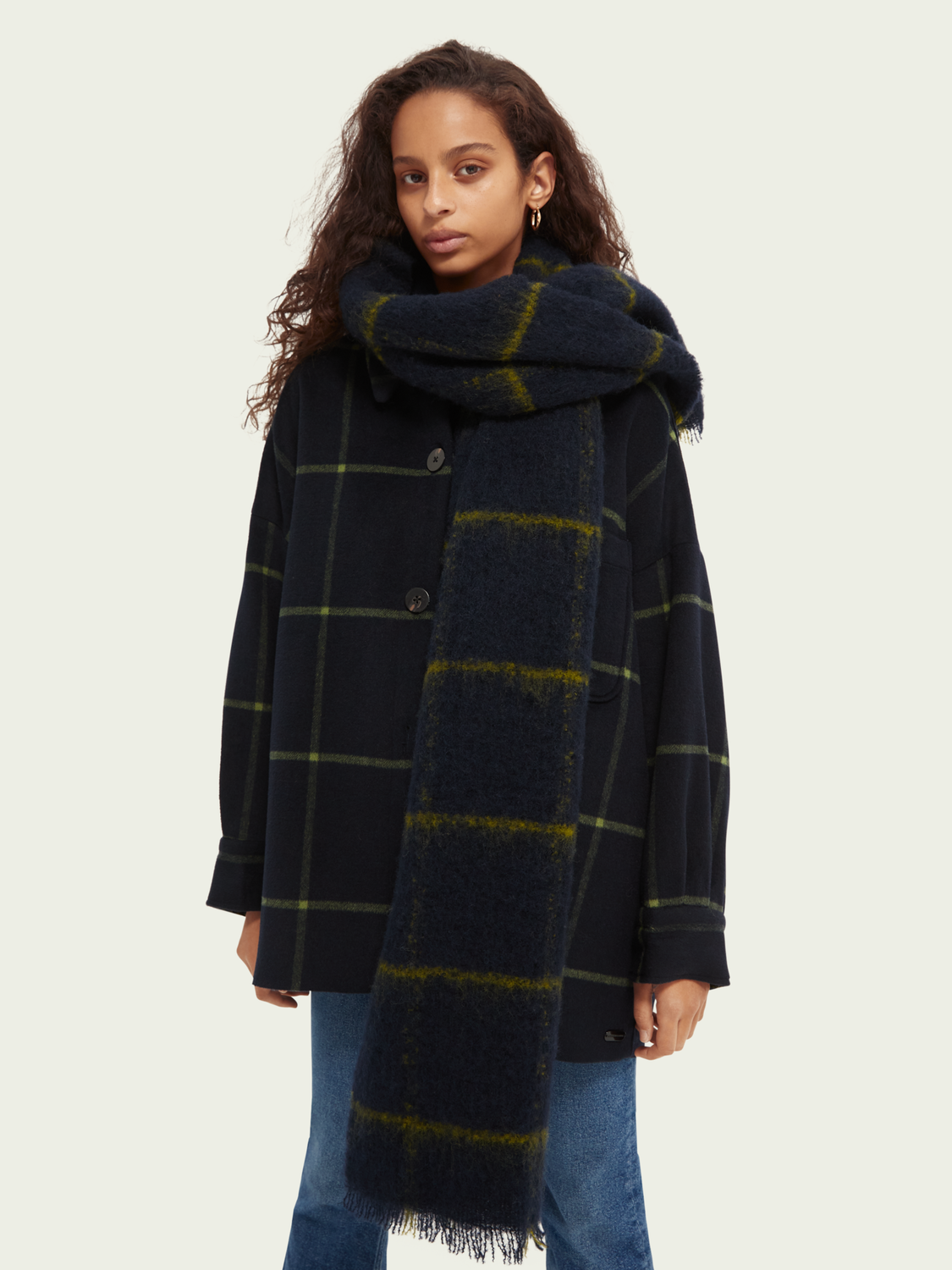 Women Woven checked wool scarf