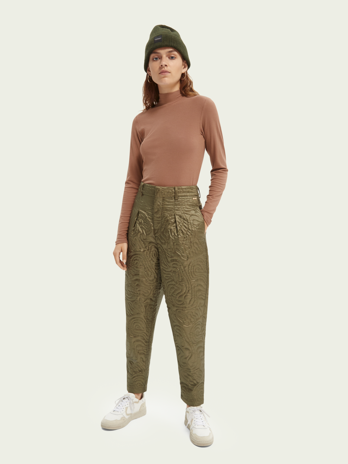 Women Quilted tapered-leg mid-rise trousers
