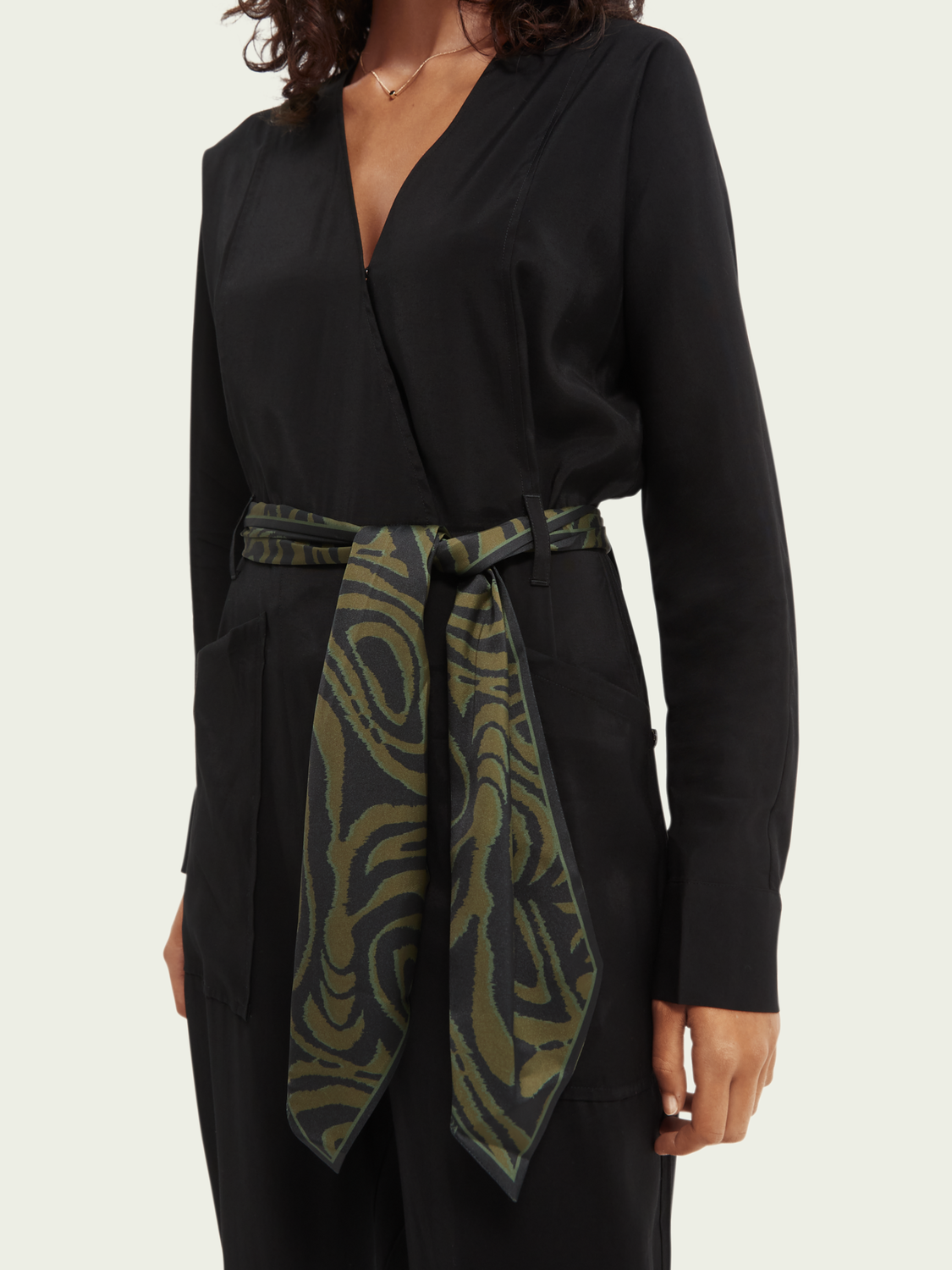 Women Wrap-over belted jumpsuit