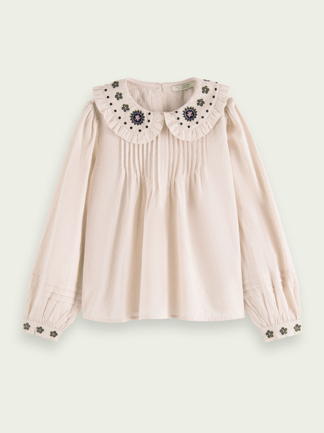 Kids Embroidered pleated wide-fit top