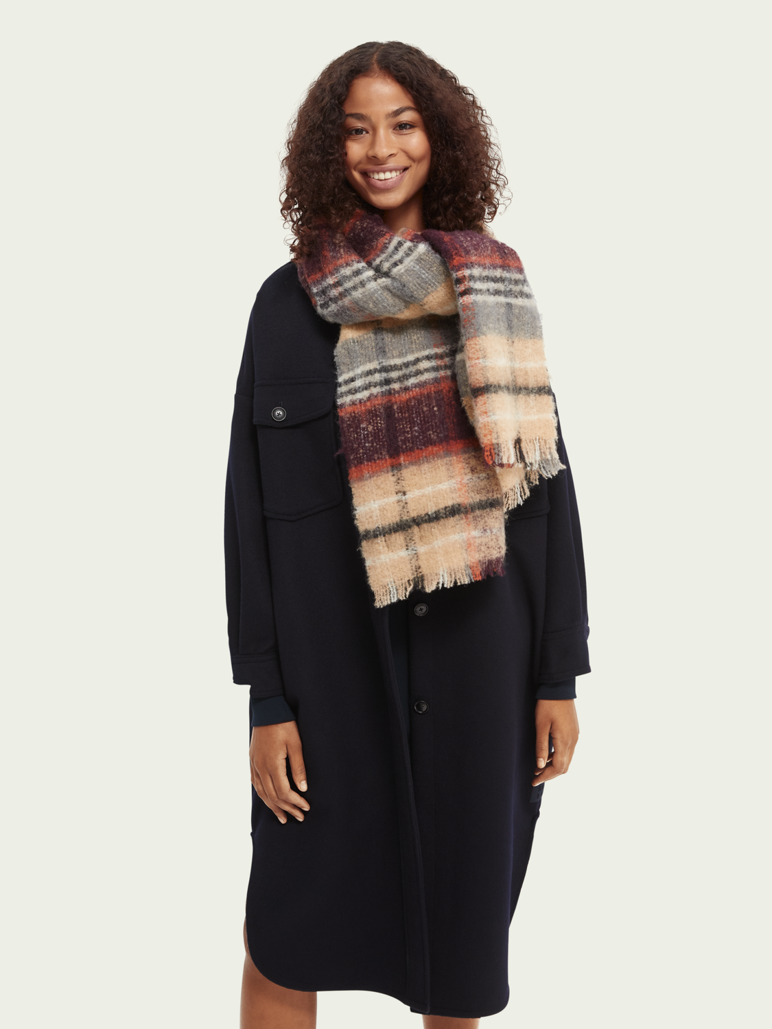 Dames Woven checked wool scarf