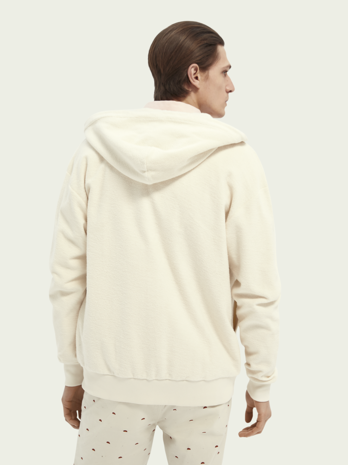 Men Towelling organic cotton zip-thru hoodie