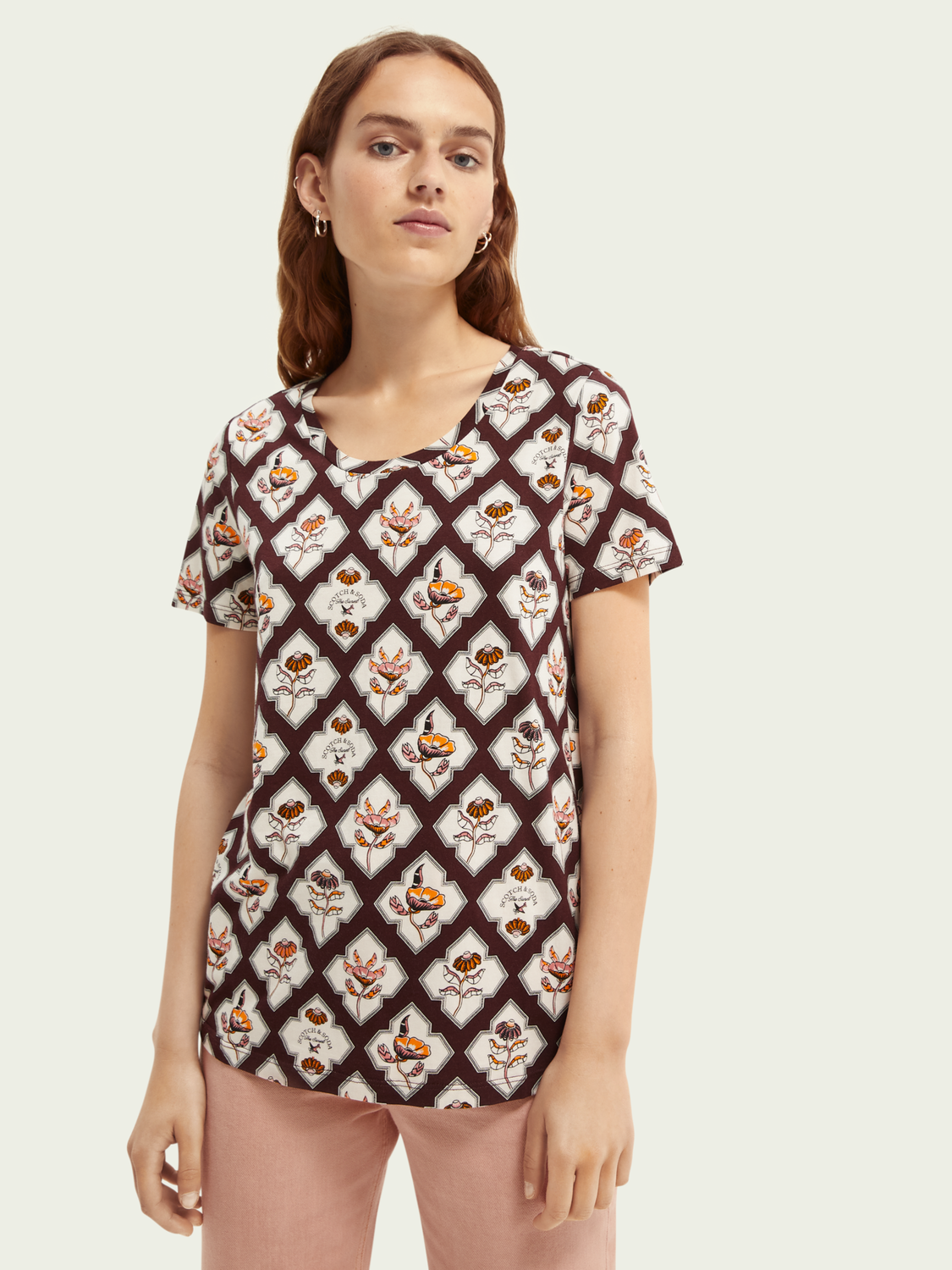 Donna T-shirt in misto lyocell con stampa