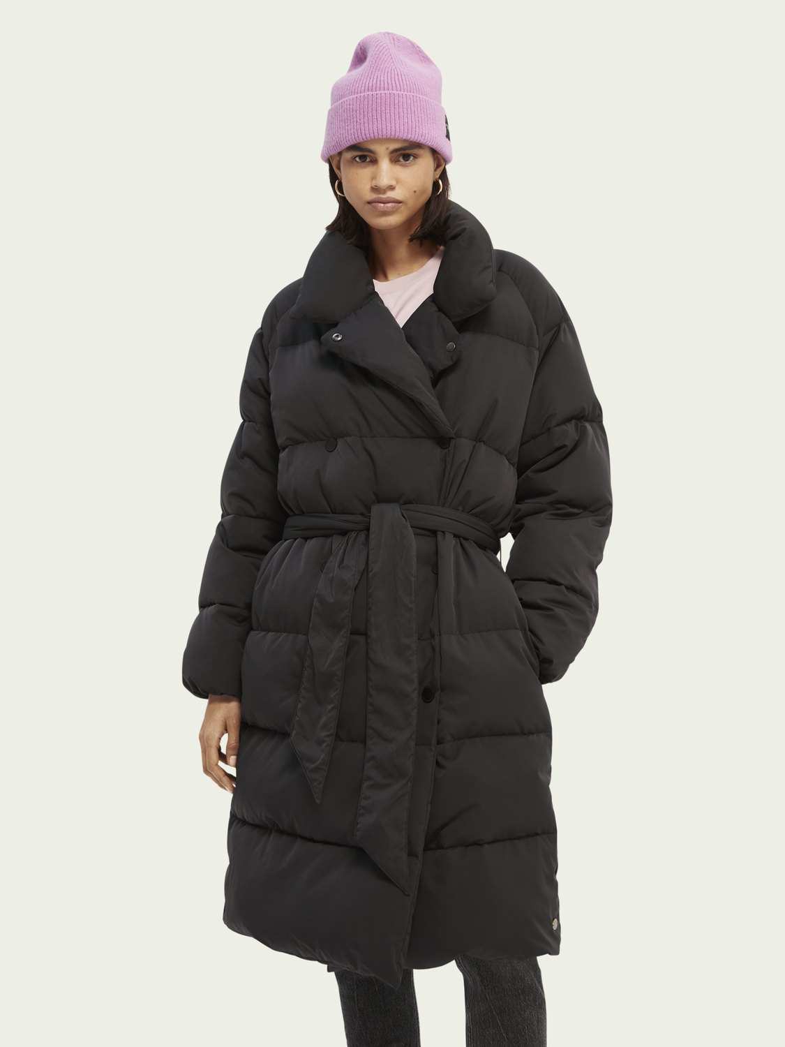 Damen Quilted belted double-breasted coat