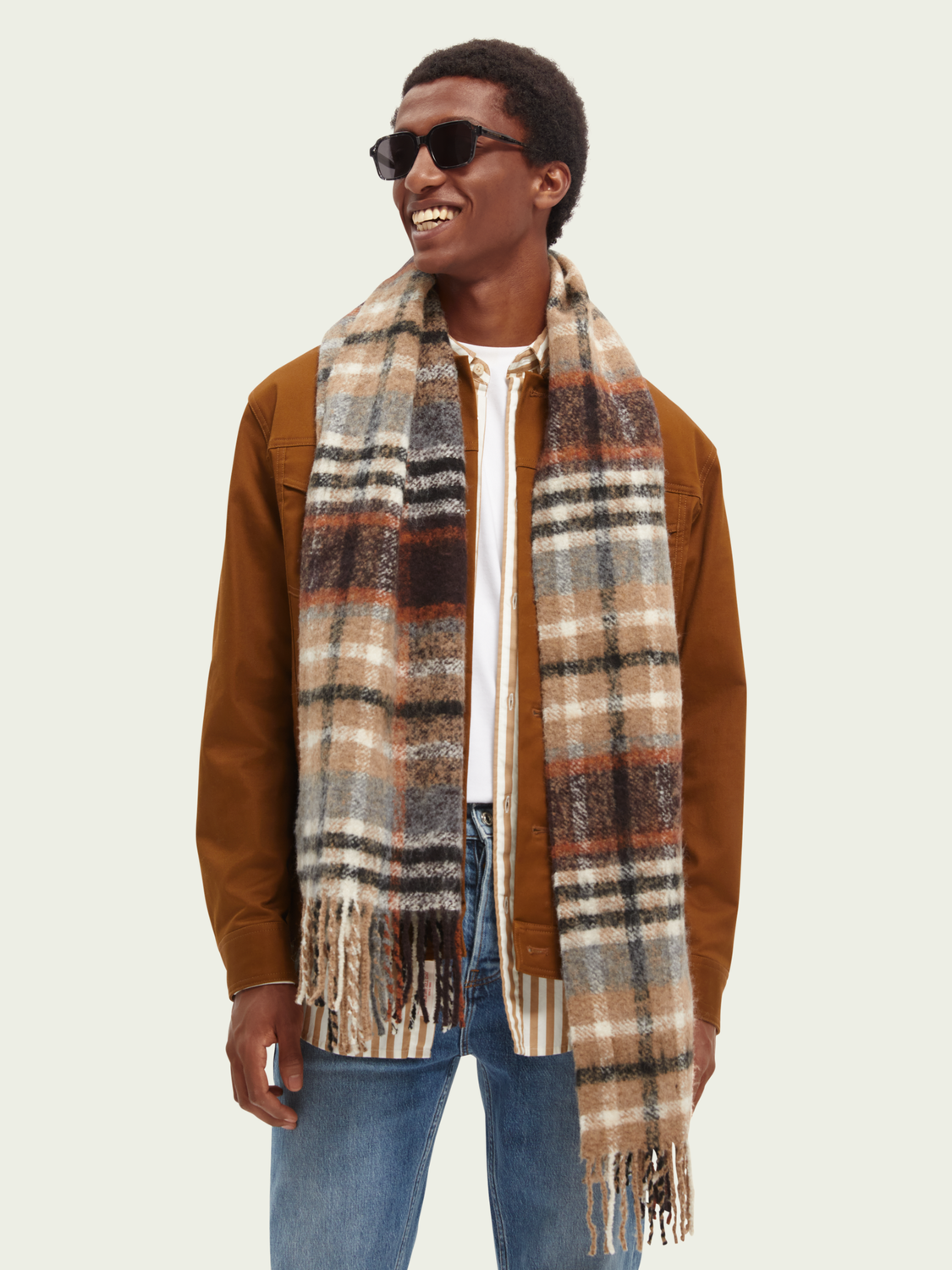Men Checked boucle scarf