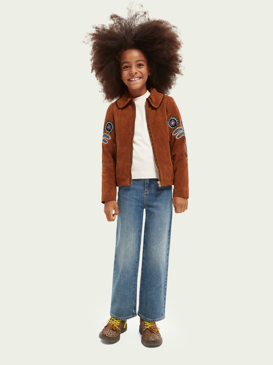 Kids Suede and faux snakeskin leather bomber