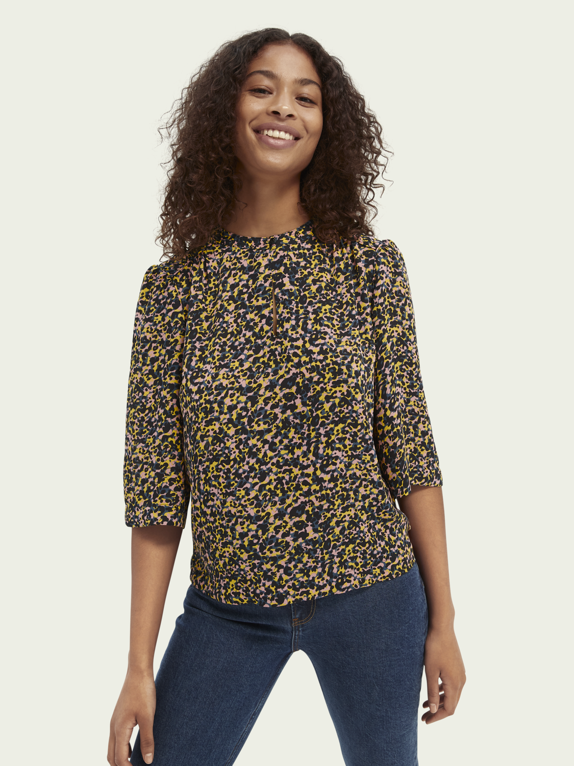 Women Printed piped-detailing top