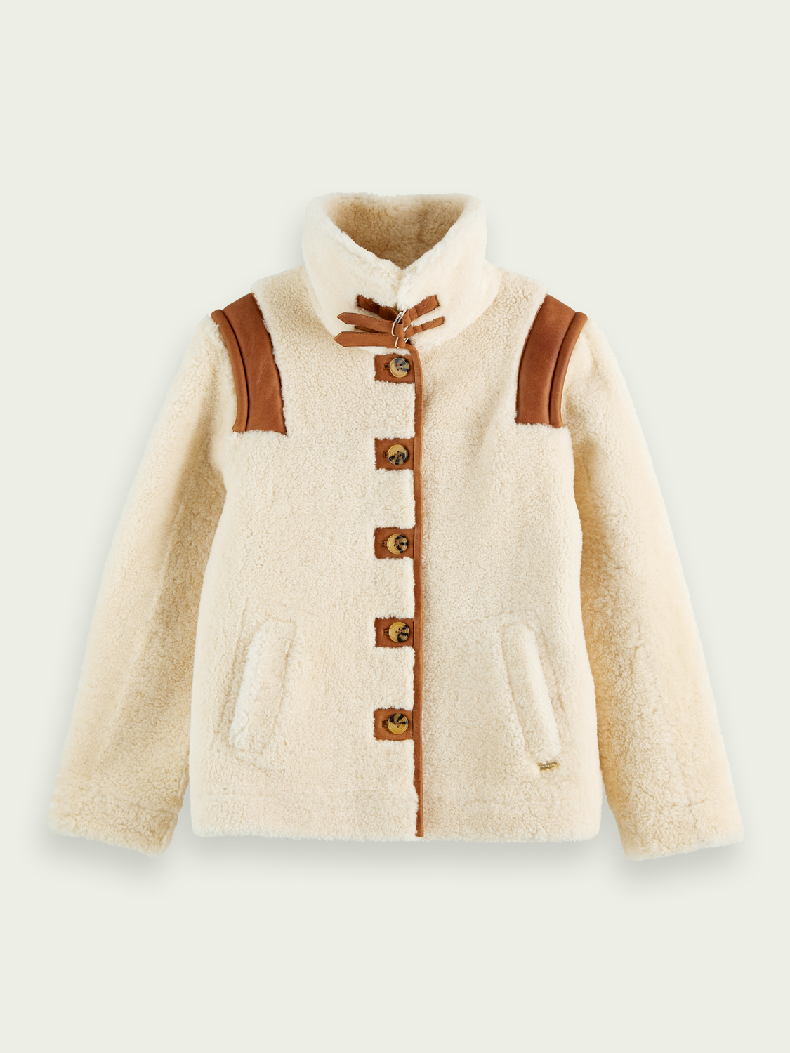 Women Single-breasted shearling jacket with detachable sleeves