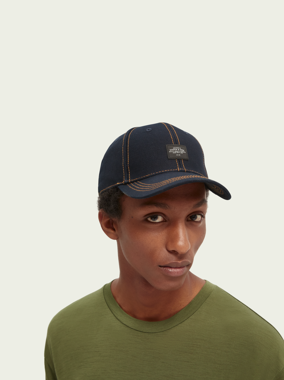 Men Contrast topstitch canvas cap