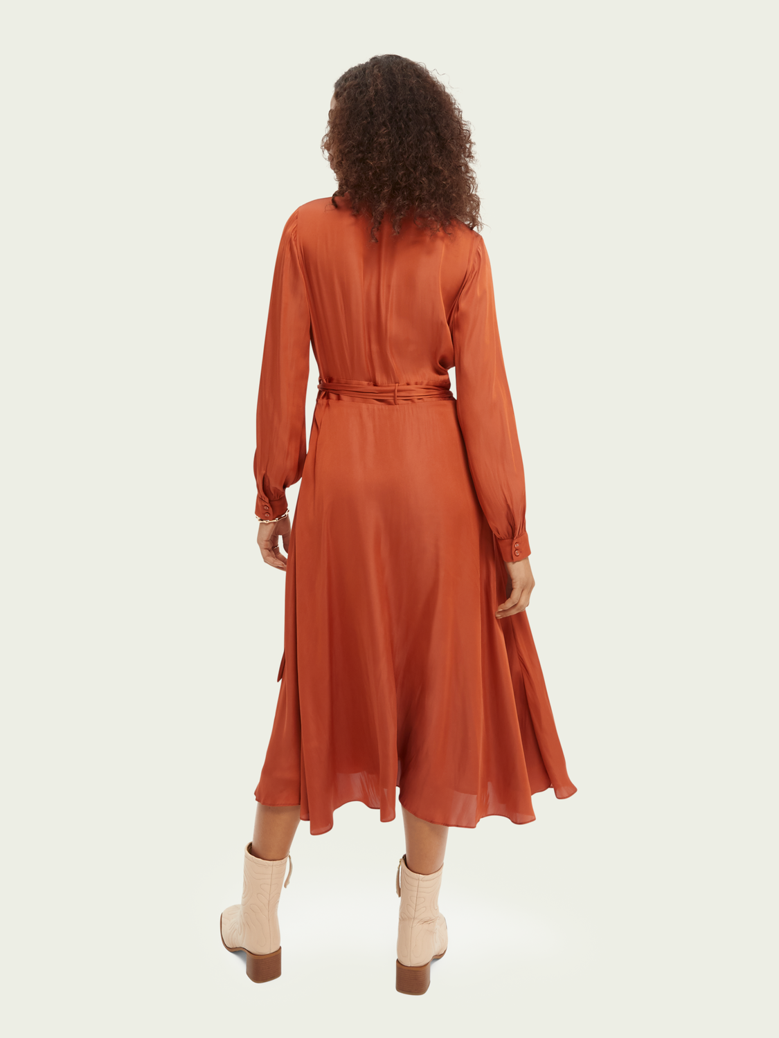 Women Belted wrap-over dress