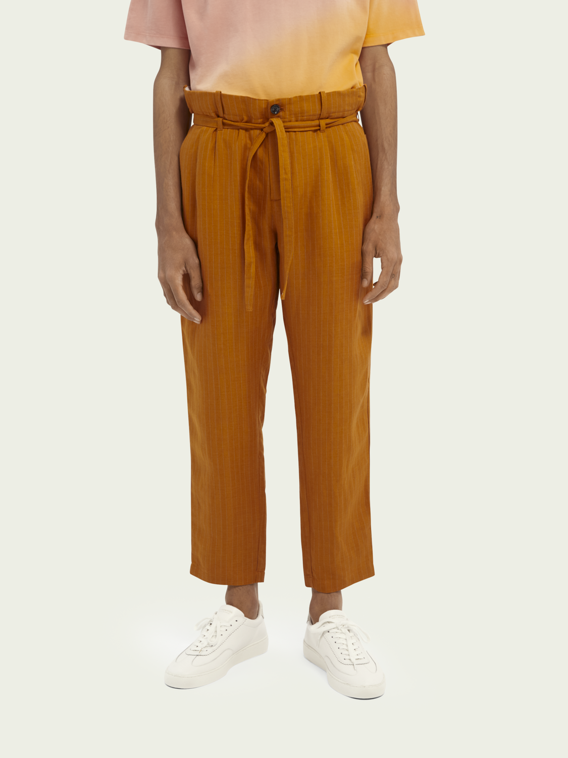 Men Pleated linen-blend  chino
