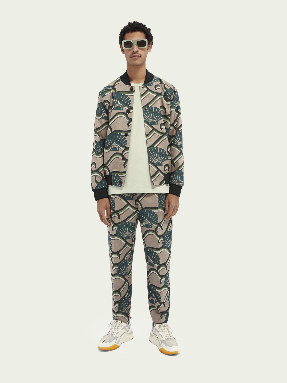 Men Printed jacquard loose tapered-fit sweatpants