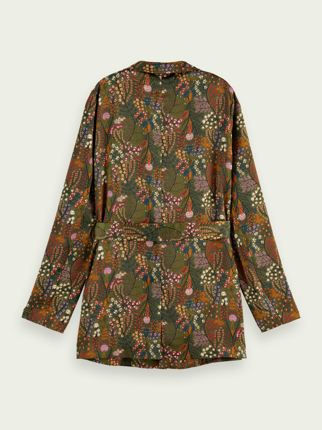Women Printed belted single-breasted blazer