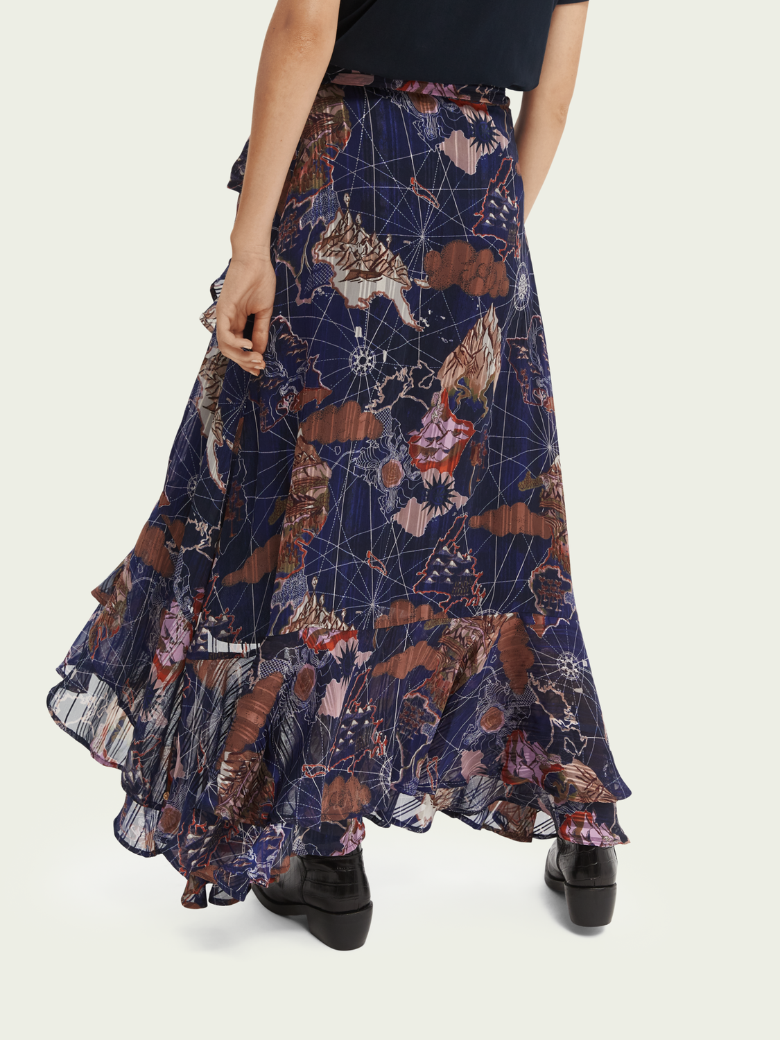 Women Printed wrap-over recycled Polyester maxi skirt