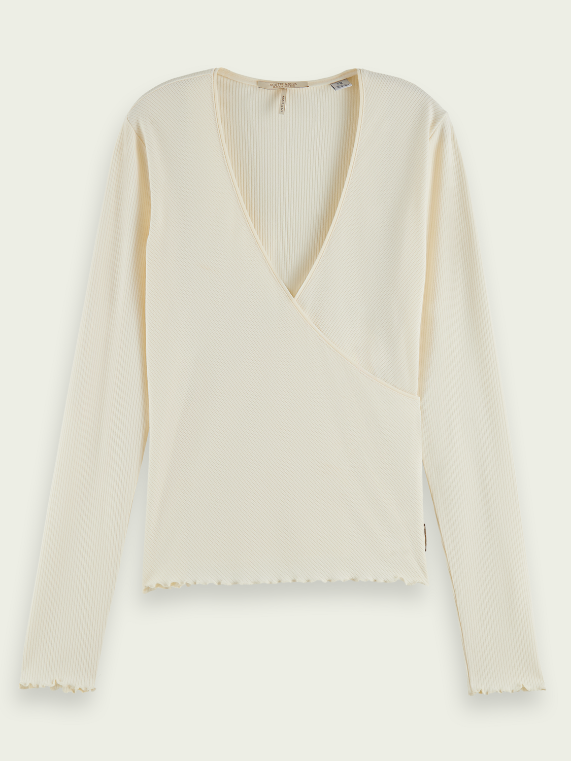 Women Ribbed ECOVERO™-blend wrap top