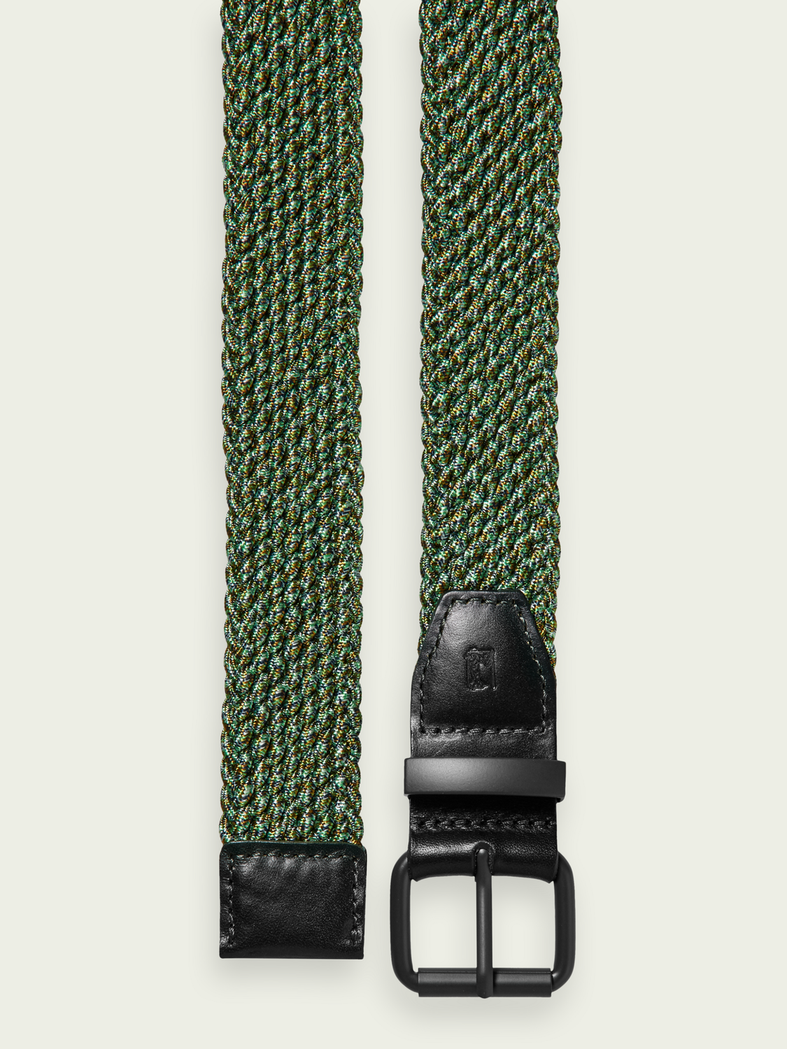 Homme Leather-trimmed braided belt