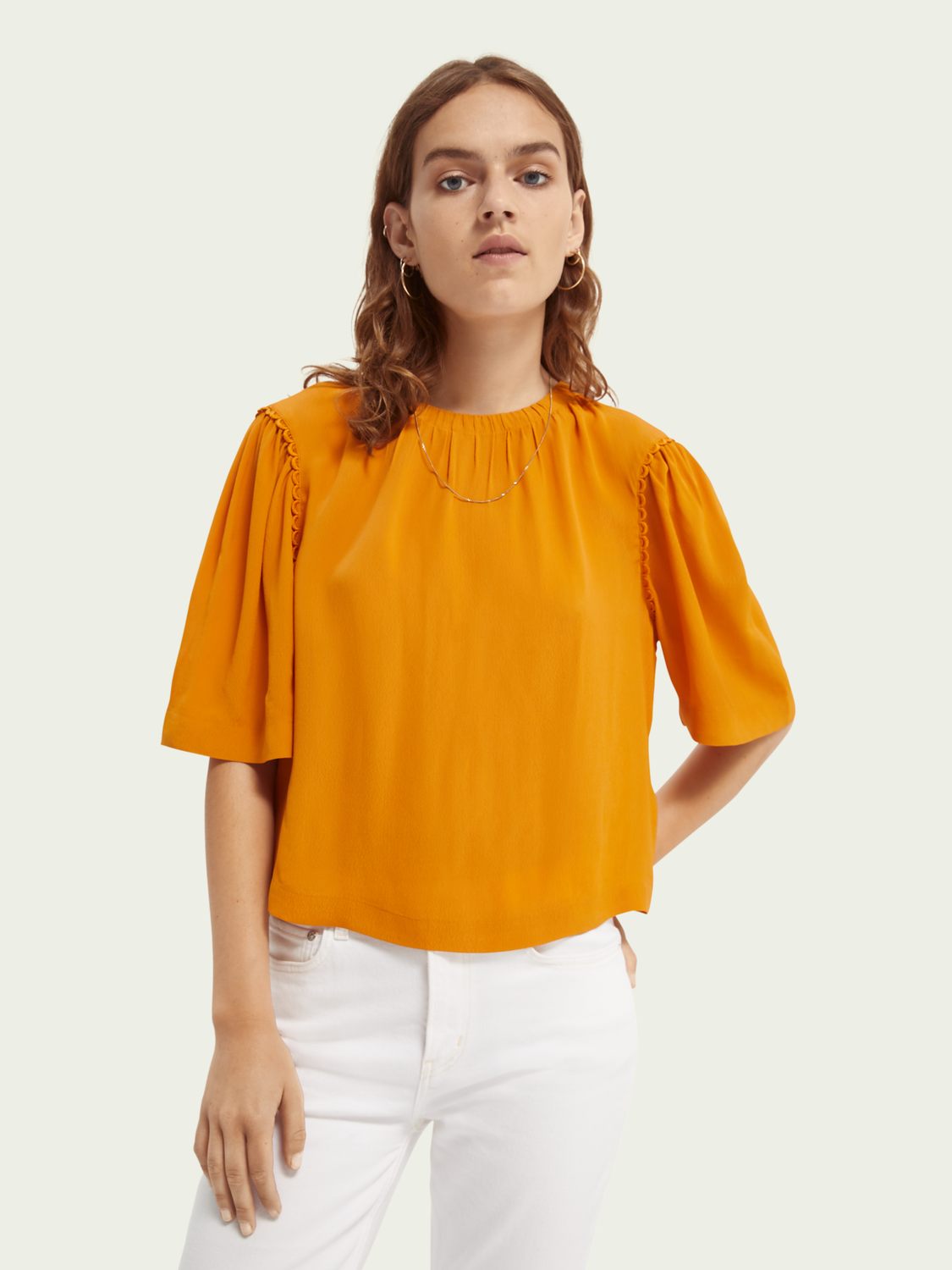 Women Scallop detailed boxy-fit top