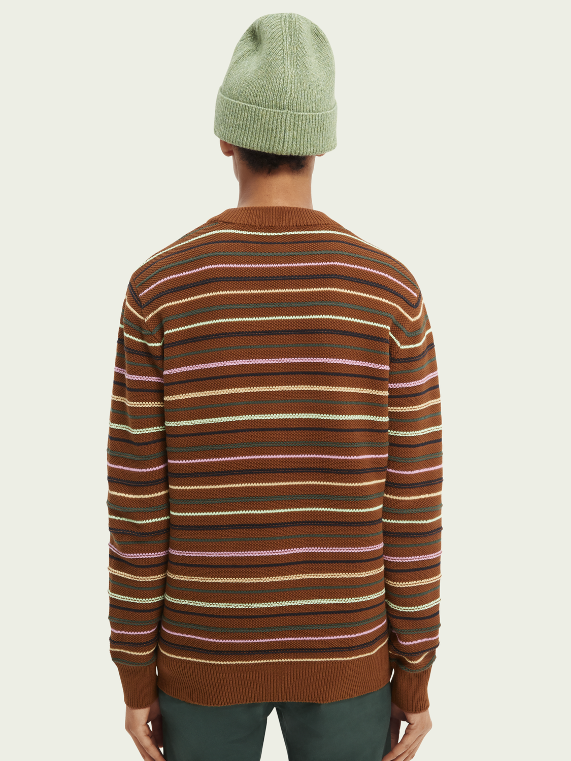 Men Striped structure-knitted organic cotton sweater