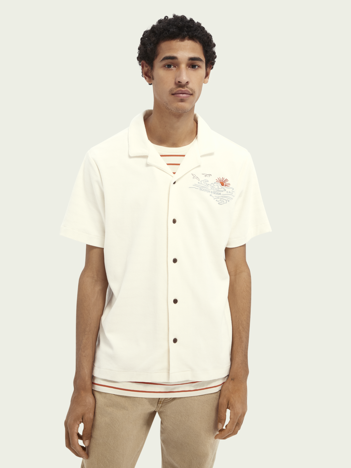 Men Terry Hawaii shirt with embroideries