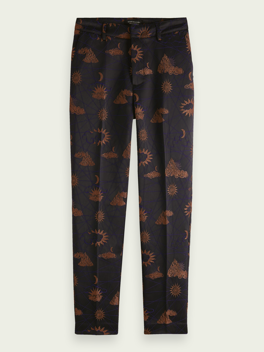 Women Jacquard tapered high-rise trousers