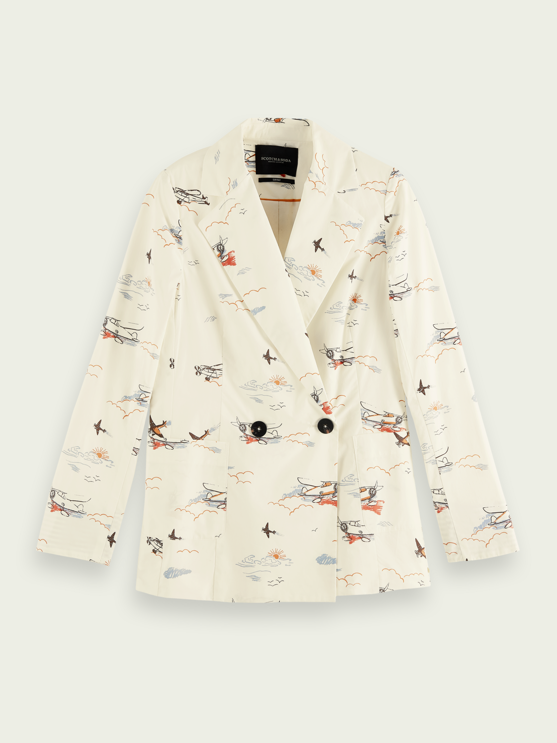Women Printed double-breasted organic cotton blazer