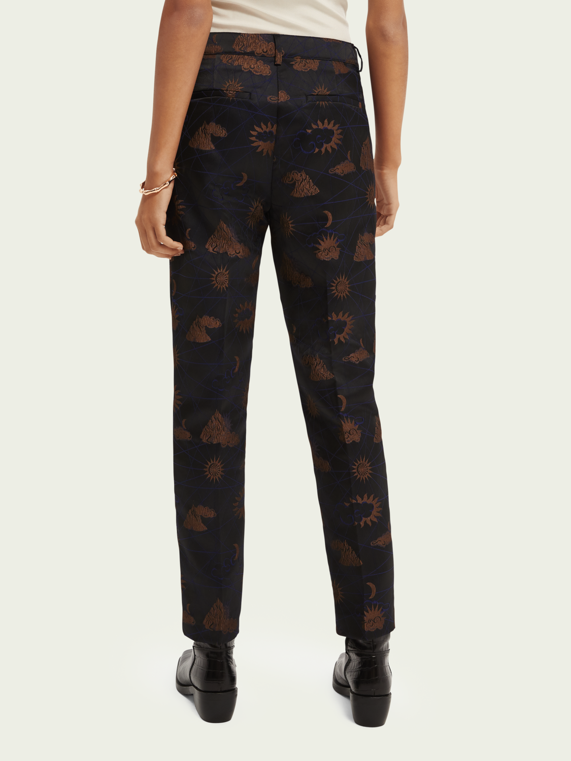 Dames Jacquard tapered fit high-rise broek