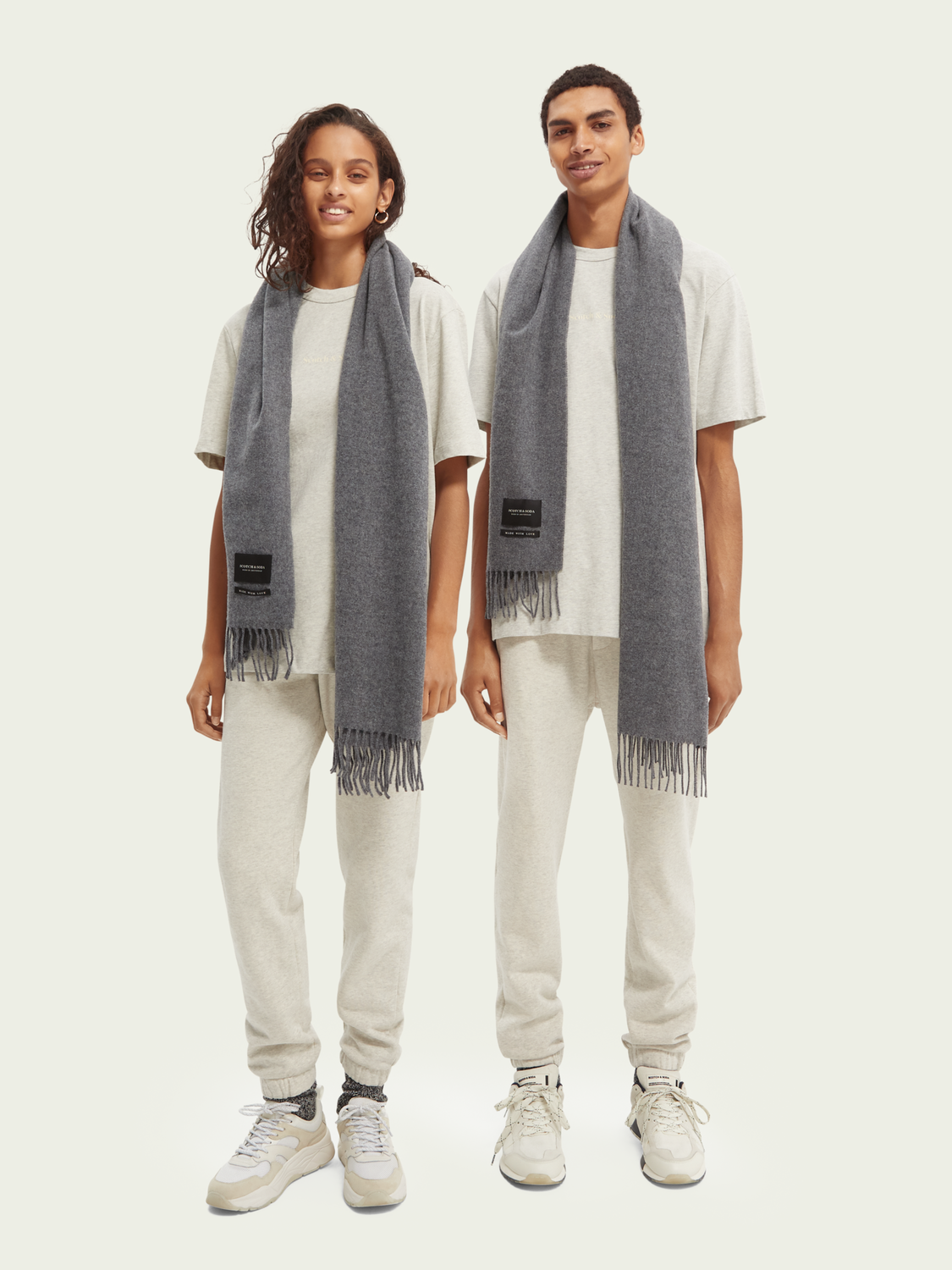 Homme Fringed woven wool scarf