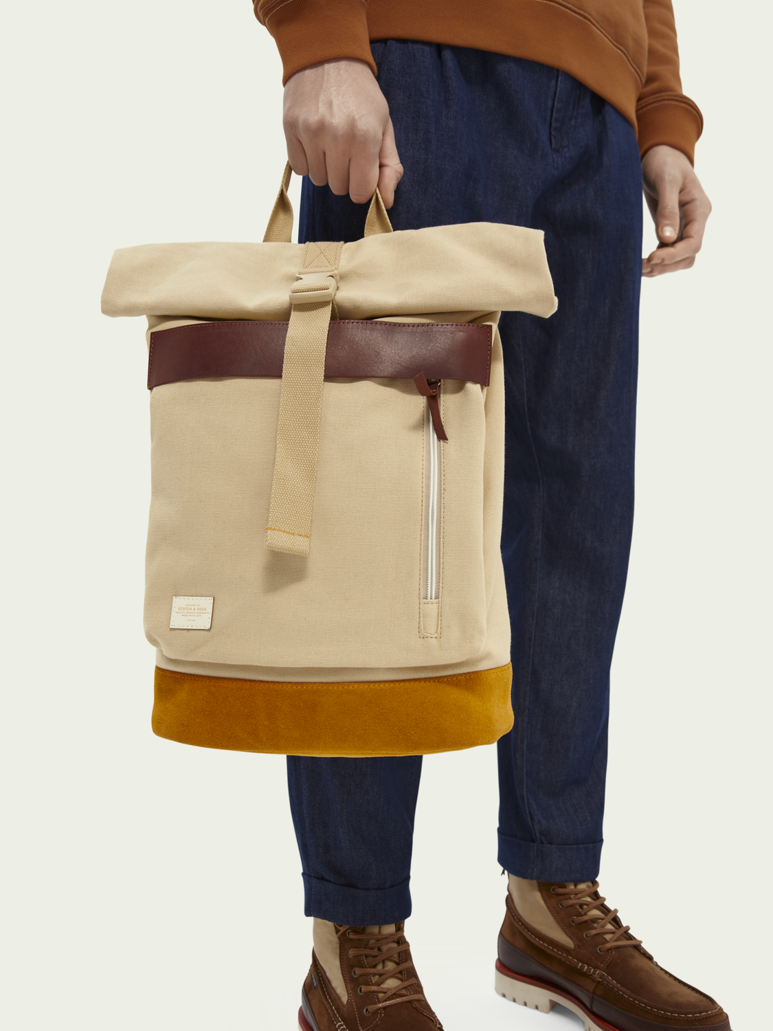 Men Leather-trimmed canvas backpack with roll-top closure