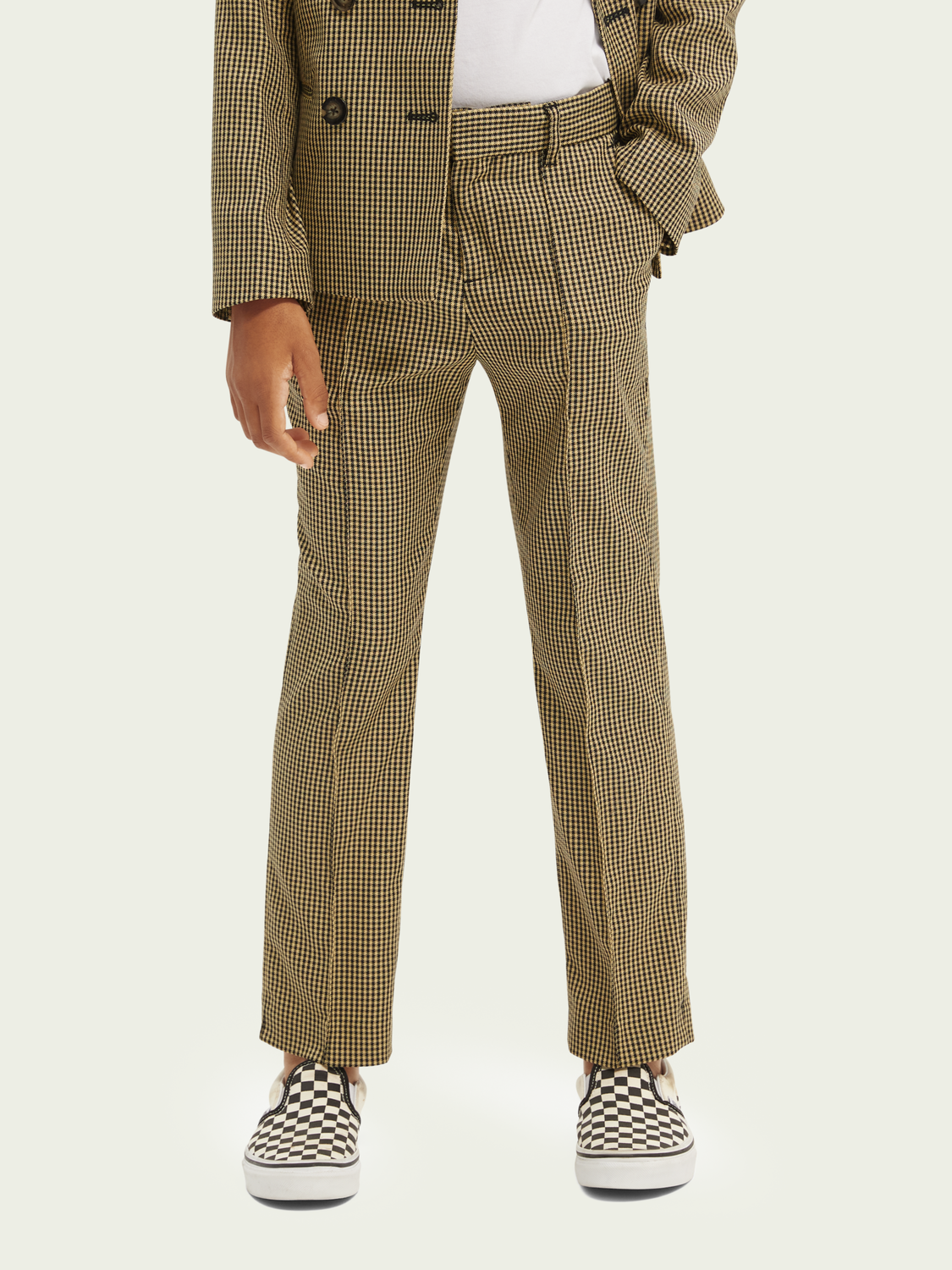 Hidden category Yarn-dyed checked trousers