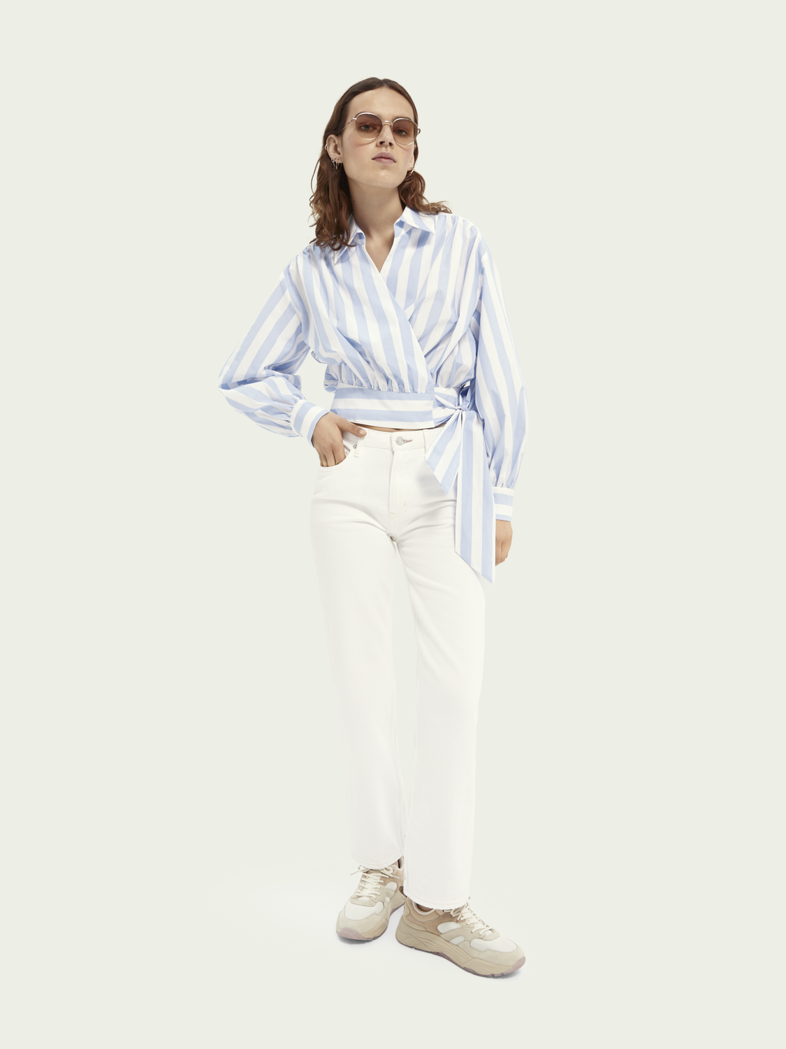 Women Tailored straight-fit cotton jeans — Summer White