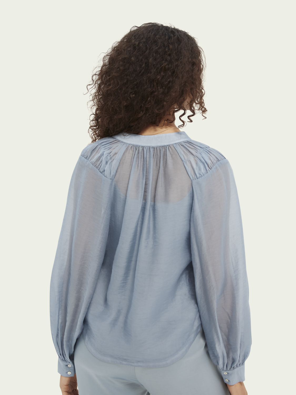 Damer Skjorta i TENCEL™-mix med volymärmar