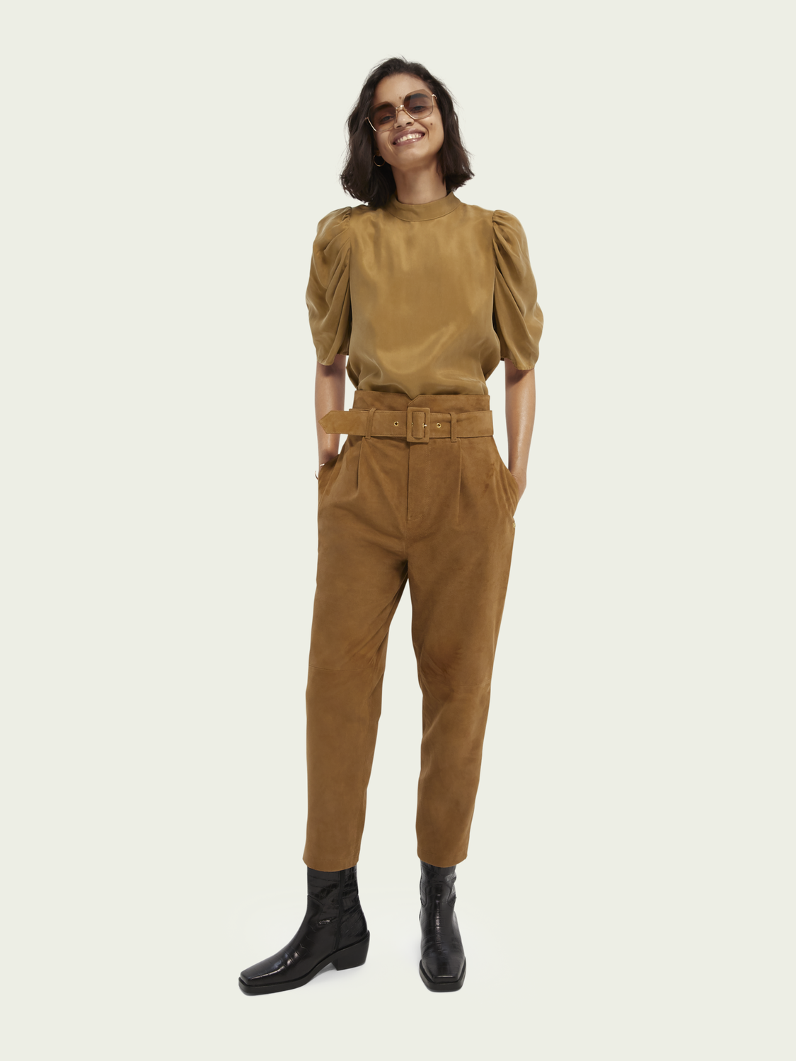 Women Belted suede paper bag trousers
