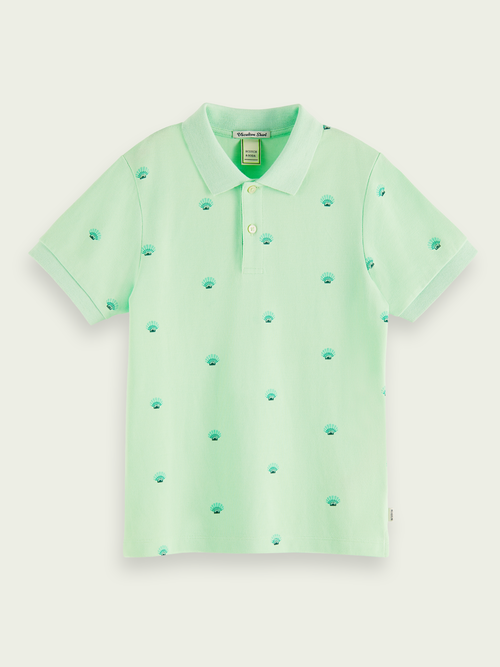 Scotch & Soda Kids' Printed Cotton Short-sleeved Polo In Green