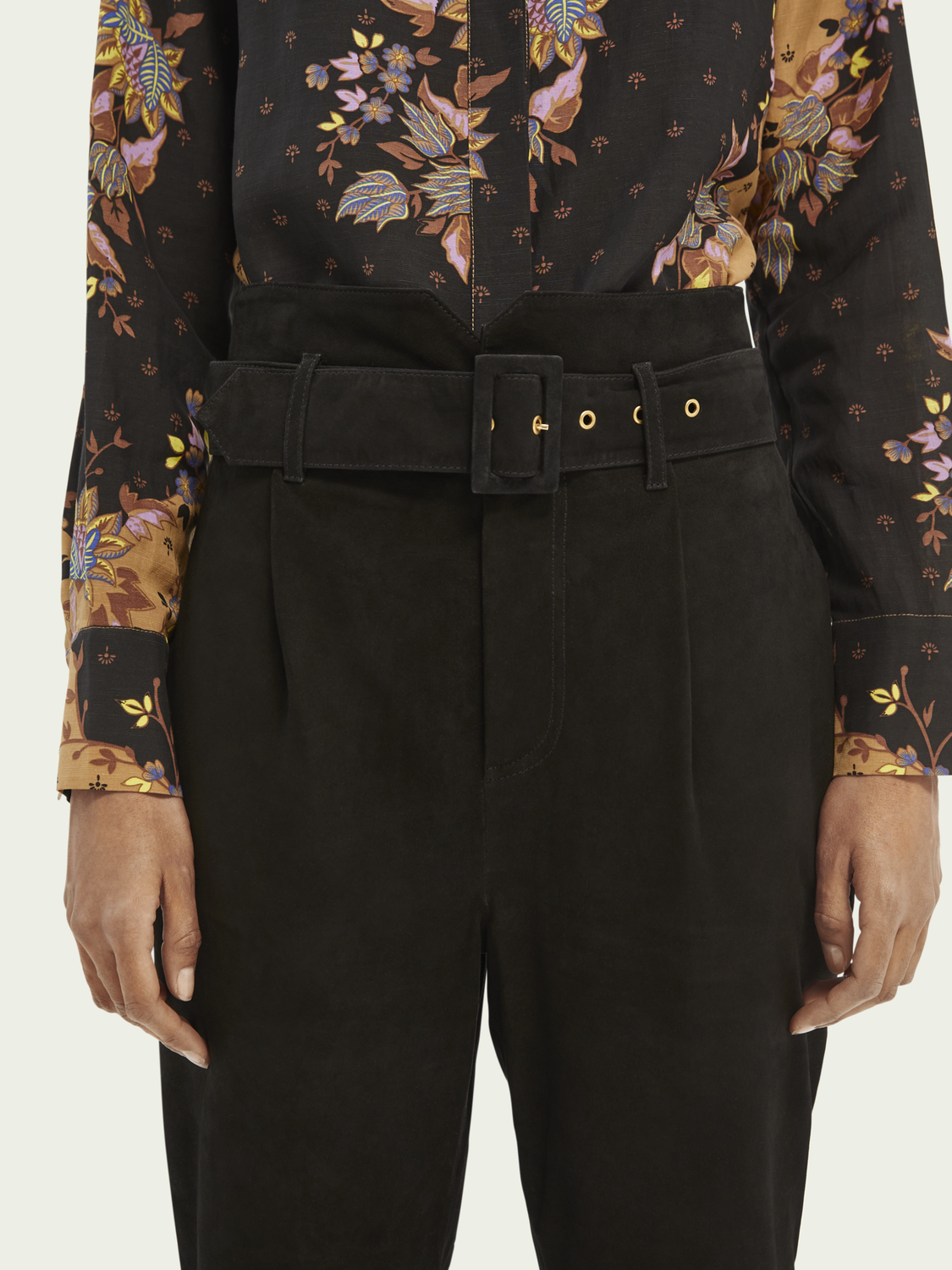 Hidden category Belted suede paper bag trousers