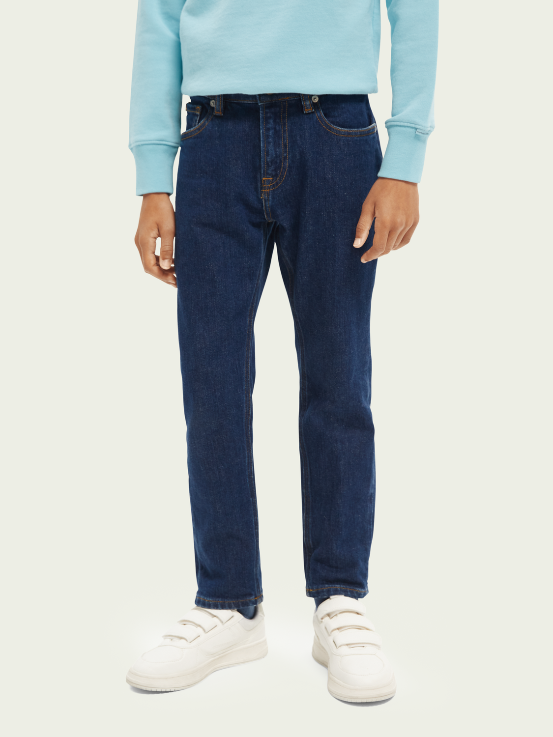 Bambini Dean loose tapered-fit organic cotton jeans —Cloud Burst