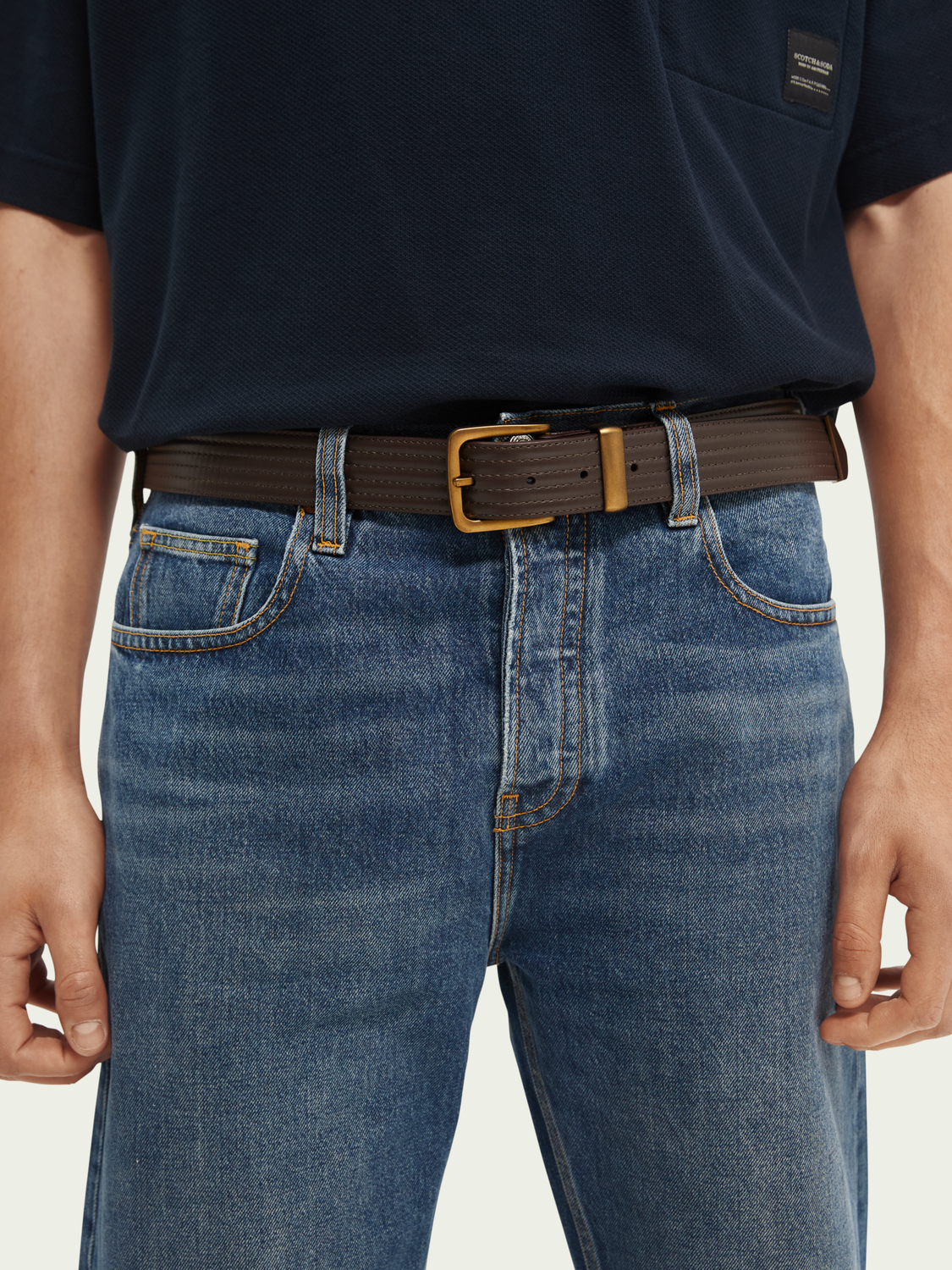 Men Metal-tipped row-stitch leather belt