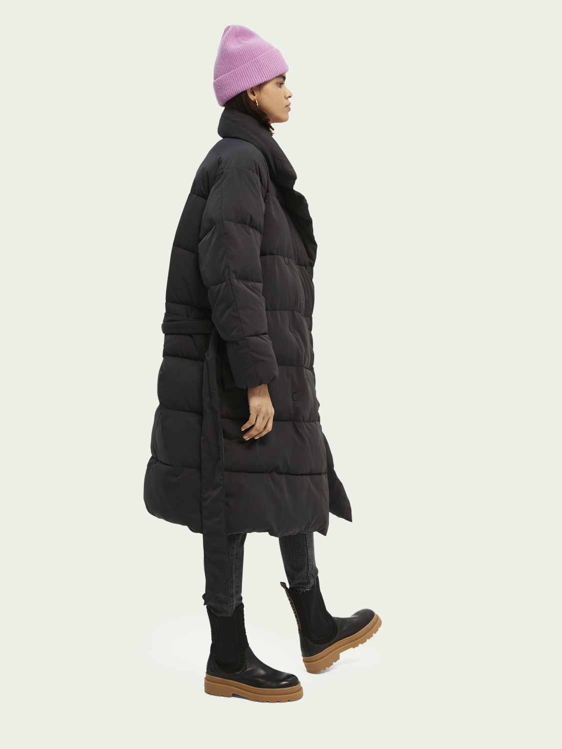 Women Quilted belted double-breasted coat