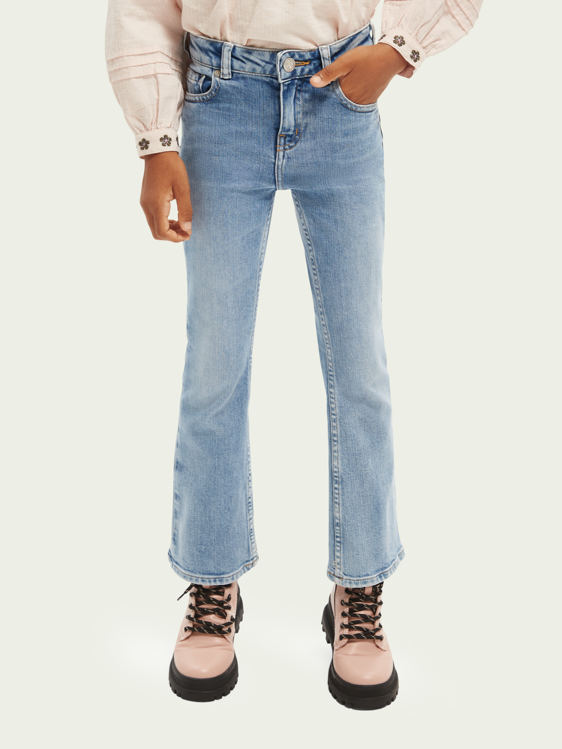 Kids The Charm high rise jeans — Crystal clear