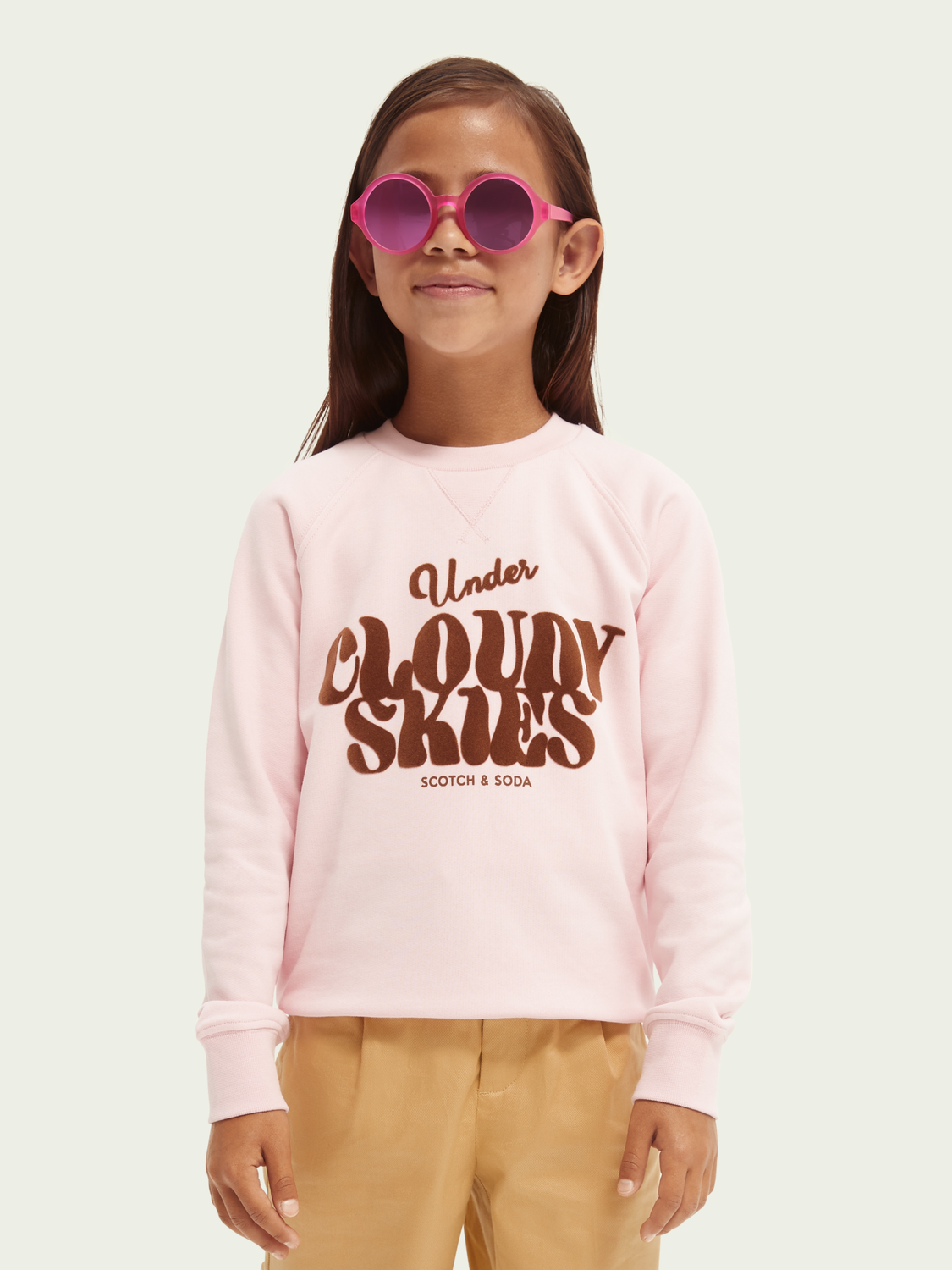 Kids Sky pink graphic printed relaxed-fit sweatshirt