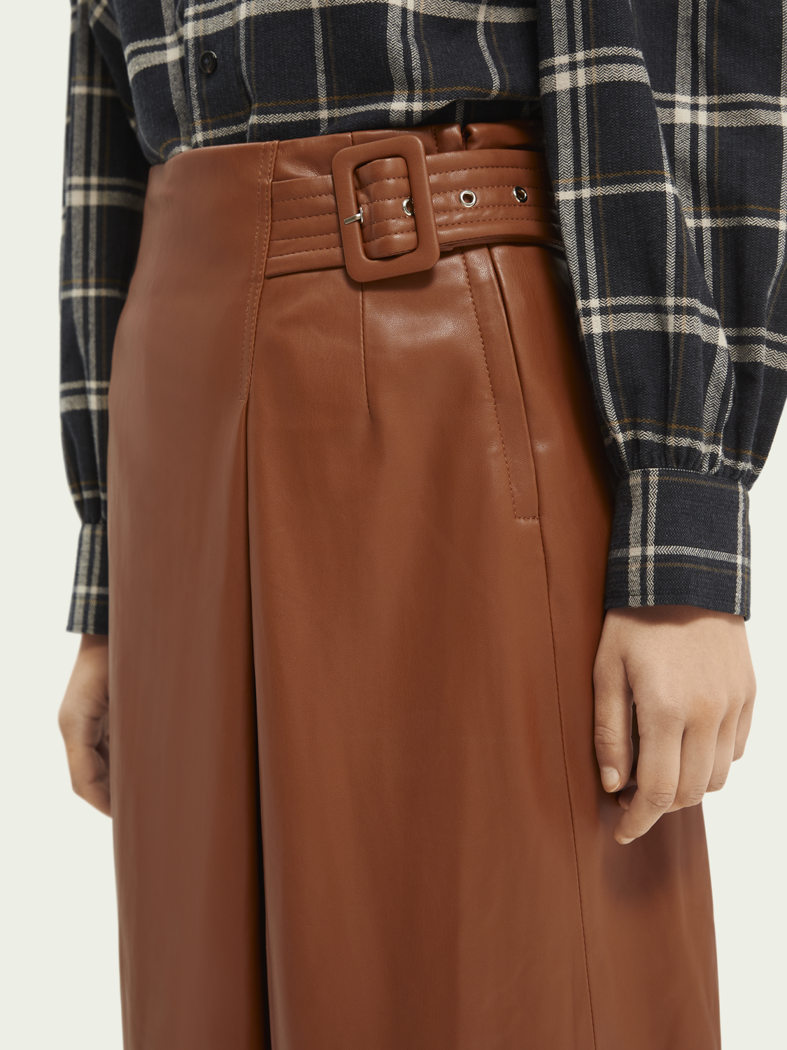 Women Wrap-over faux leather skirt