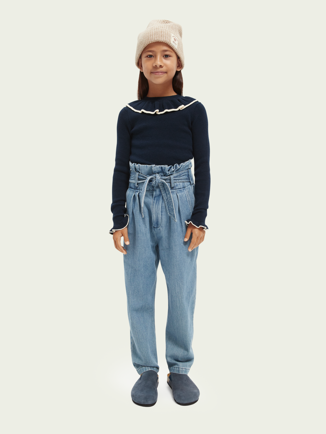 Kids High-rise belted chino