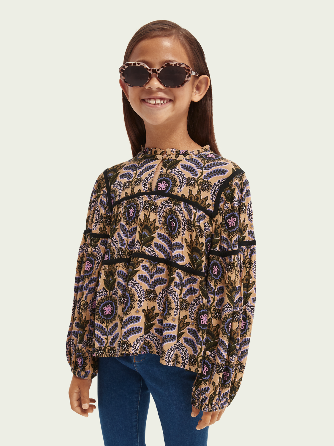 Kids All-over printed wider-fit top with contrast tape