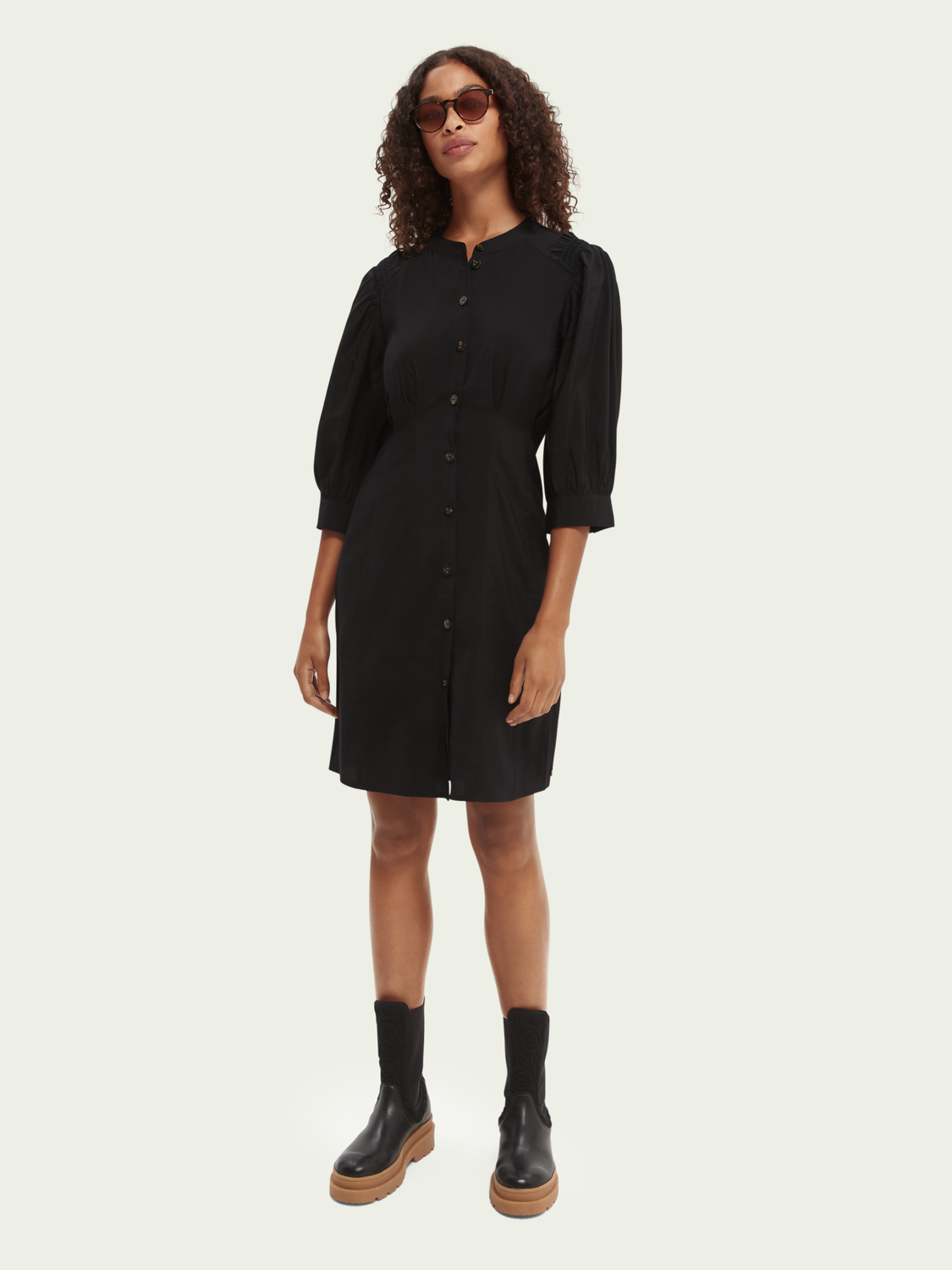 Damer Printed fitted button-through dress