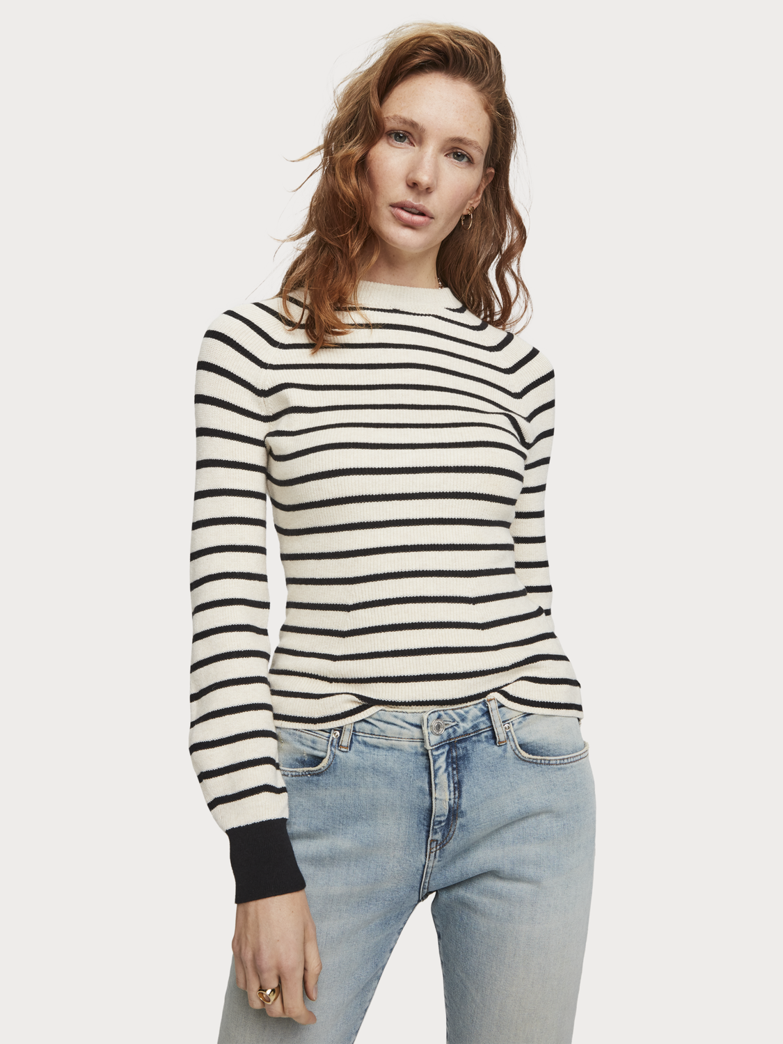 Women Striped Crew Neck Pullover