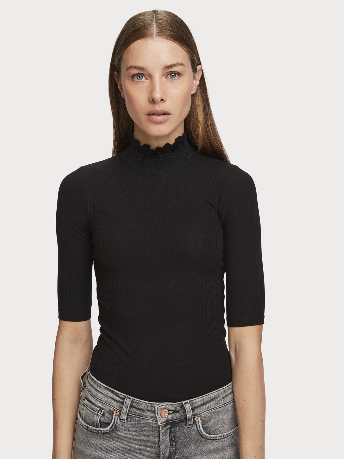 Women High Neck Rib Knit T-Shirt