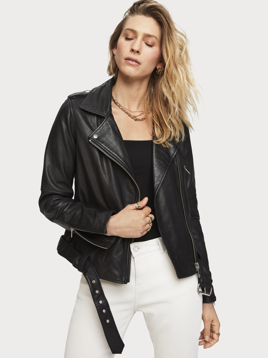 Women Classic Leather Biker Jacket
