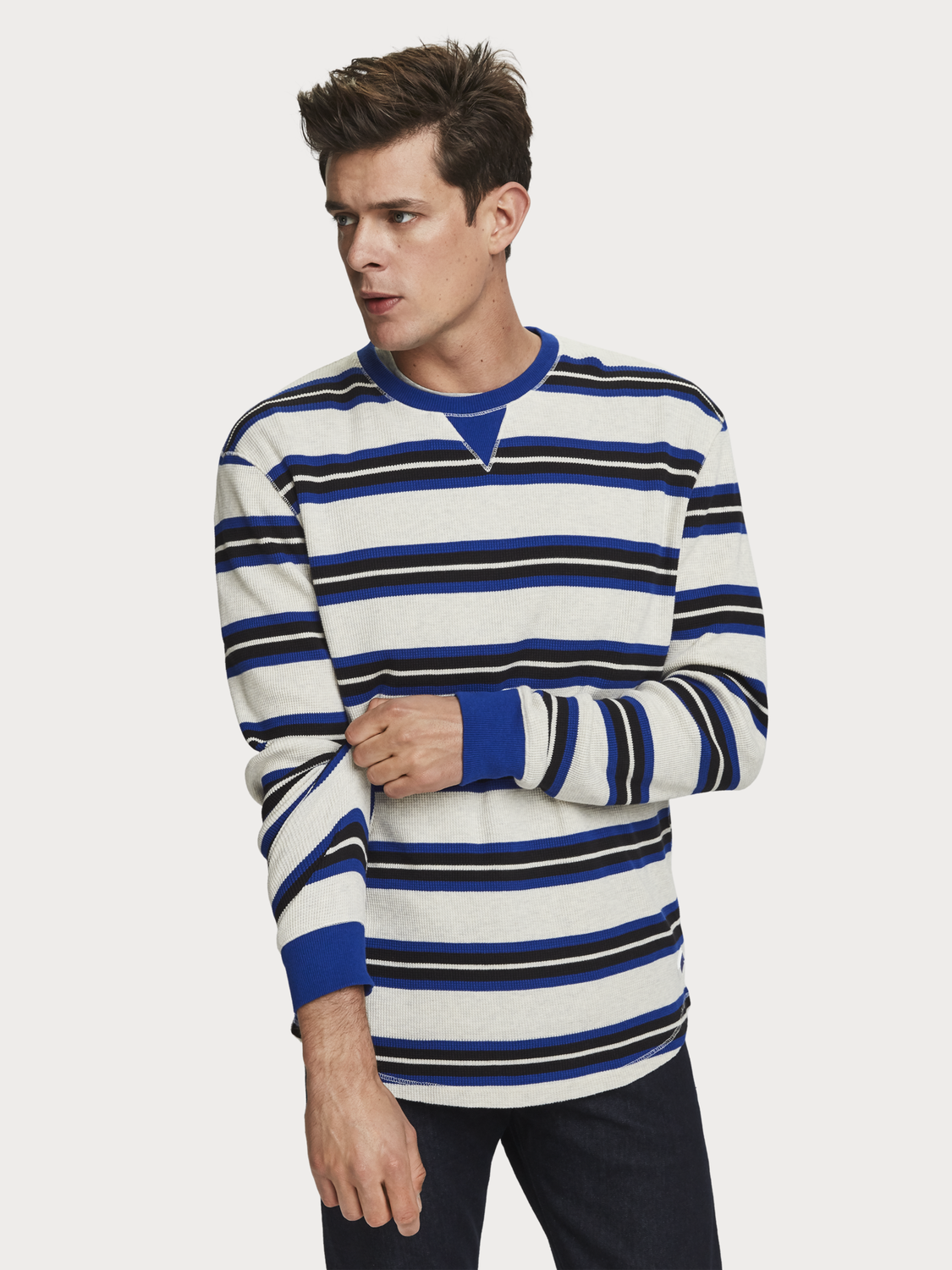 Men Striped Waffle Knit T-Shirt